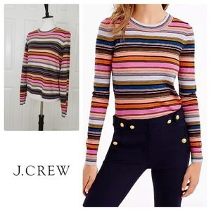 J. Crew Rainbow stripe sweater in merino wool - L